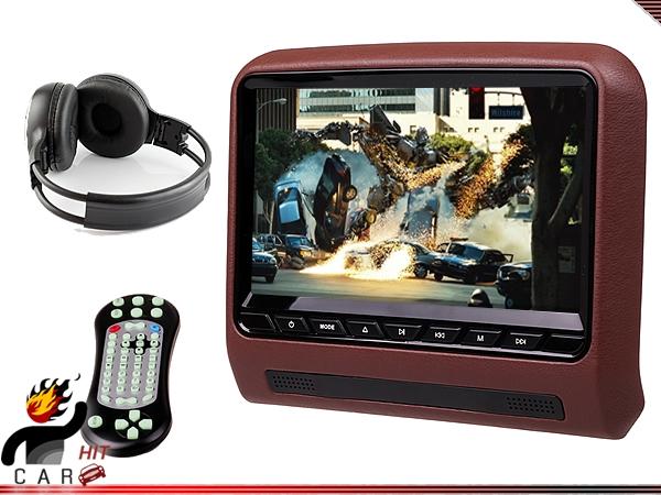 Universal 1x Single 9 Inch Car Headrest DVD Media Player - Tablet Style FM Transmitter IR SD USB Games Wireless Headphone(China (Mainland))