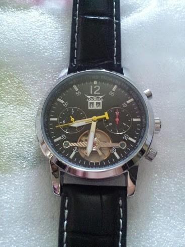 Jaragar бренд класса люкс автоматическая механическая турбийон календарь кожаный мужские наручные часы мужские часы 2016 New бесплатная доставка