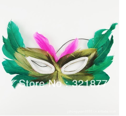 free shipping Prom Dress masquerade mask powder feather mask