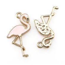 6X16x26mm Dello Smalto della Lega Goccia di Olio Rosso Rosa Del Pendente Del Cigno Della Collana FAI DA TE Risultati Flamingo Pendenti e Ciondoli per accessori Per animali Che Fanno 22324(China)