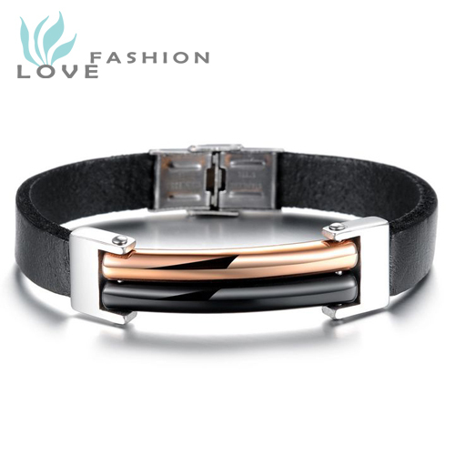 Wholesale new fashion jewelry personality tide men stainless steel men s genuine leather bracelets bangles birthday