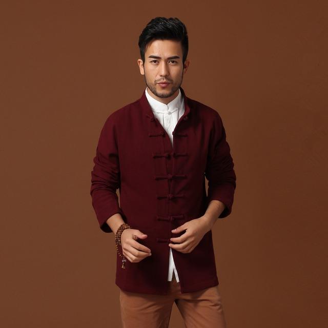 Бургундия весенние мужские с длинным рукавом пальто классический китайский стиль ...