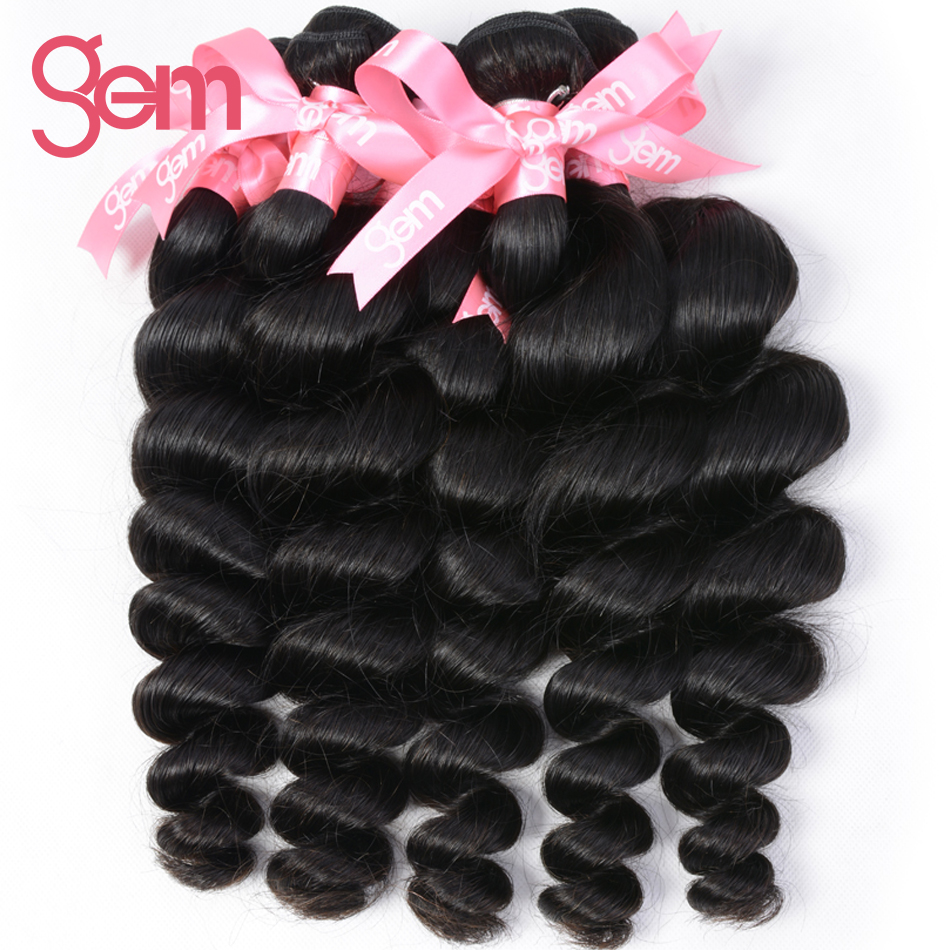 Gem Beauty Supply Brazilian Remy Hair Loose Wave 1 Piece Only 100% Human Hair Weave Bundles Natural Color Can Be Dyed & Bleached