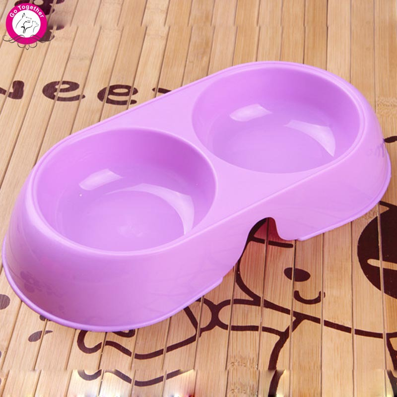 Colorful Dog Puppy Bowl Water Drinking Dispenser Pet Cat Feeder Plastic Food Dish Double Bowls(China (Mainland))