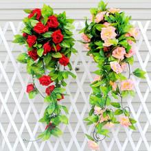 2.45m Artificial Rose Garland Silk Vine Flower Plant Garlands Ivy Home Wedding Garden Floral Decoration(China (Mainland))