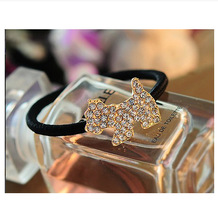 Retro Crystal Imitation Pearl Beads Heart Bow Elastic Hair Band Rubber Hair Clip for Women Girl Headwear Hair Accessories(China (Mainland))
