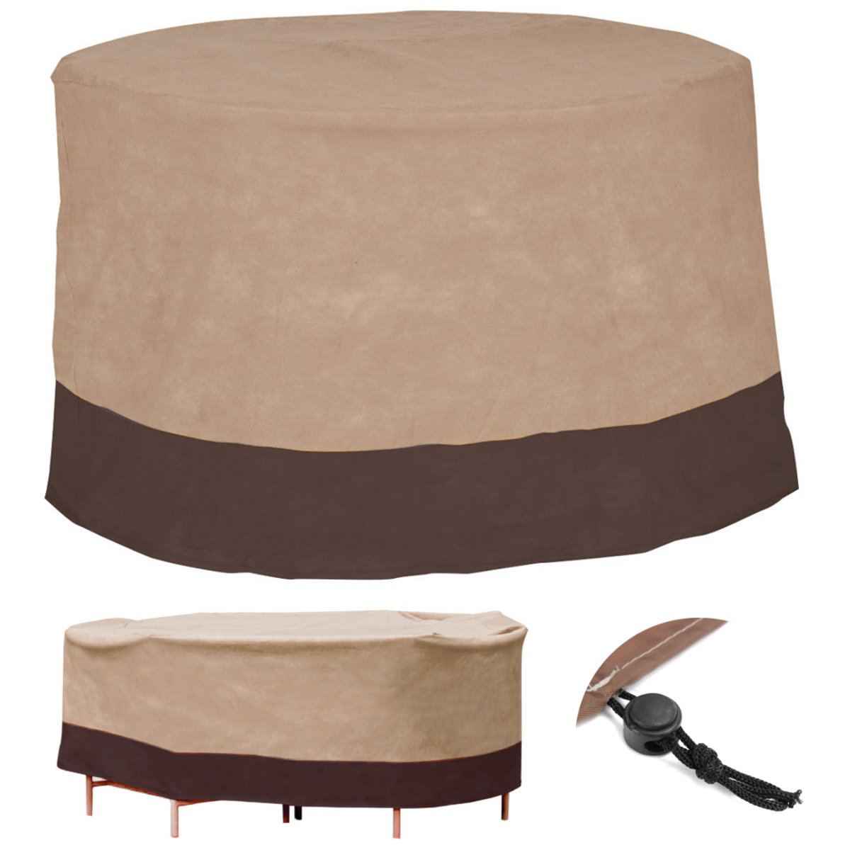 Brown Table Cover Waterproof Table Runner Outdoor Patio Round Table Cover Home Textiles Furniture Protection Cover 48 Inch(China (Mainland))