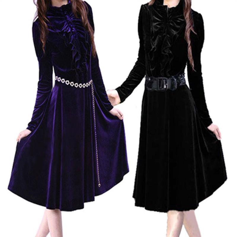 Hot Sale New 2014 Women Autumn Winter Slim A-line Elegant Ethos Plus Size Full Sleeve Stand Collar Corduroy Dress LY1561(China (Mainland))