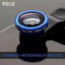 PZOZ New Universal Mobile Phone Lenses 3 in 1 Wide Angle Macro Fish Eye Lens For iPhone 5S 6plus Samsung S5 S6 xiaomi