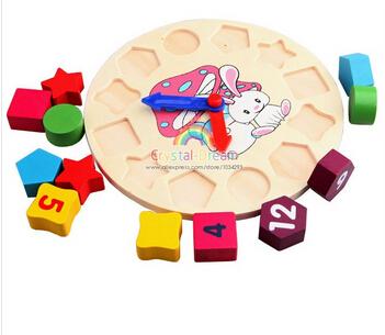 [해외]나무 블록 장난감 디지털 형상 시계 어린이 & 39; 아기 소..