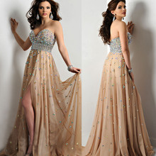 2017 customize various color crystal beaded chiffon PROM dresses sexy party dress(China (Mainland))