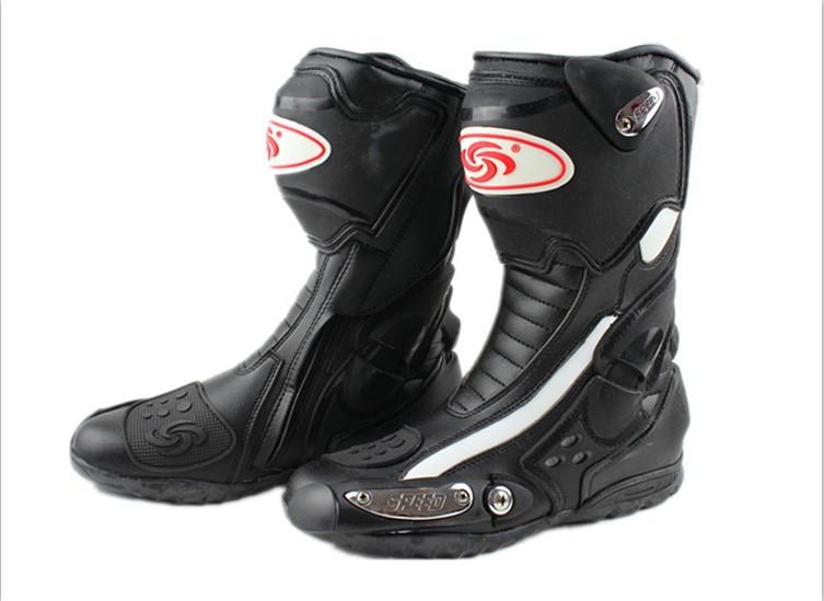 Мотоцикл ботинки про-байкер скорость байкеры мото гонки сапоги мотокросс кожа длинные обувь черный / белый / красный B1002 бесплатная доставка