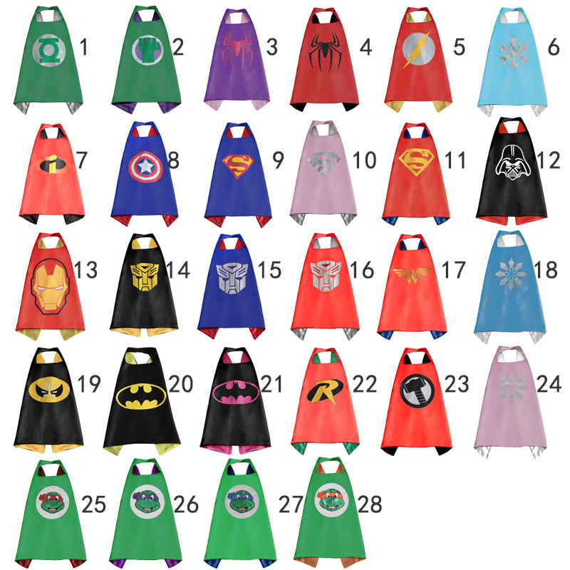 Gold Hands Supehero Batman Ninja Turtles Spiderman Captain America Supergirl kids capes 70*70CM Double Side kids Superhero Cape(China (Mainland))
