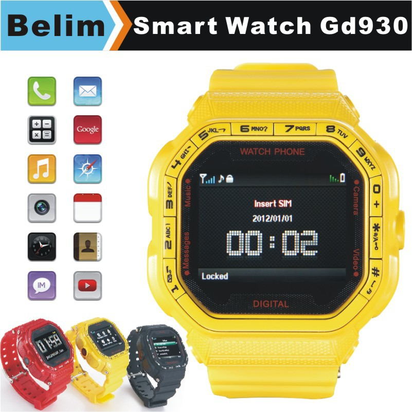 "Free Shipping Watch Phone GD930 GSM 1.46"" Touching Screen Smart Watch MP3/MP4 Support WAP GPRS Camera FM Micro SD card(China (Mainland))"