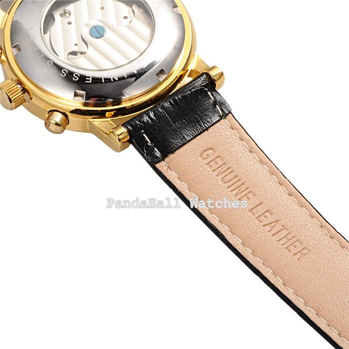 Мужчины наручные часы люксовый бренд ORKINA кожаный автоматические механические часы черный подарок для мужчин