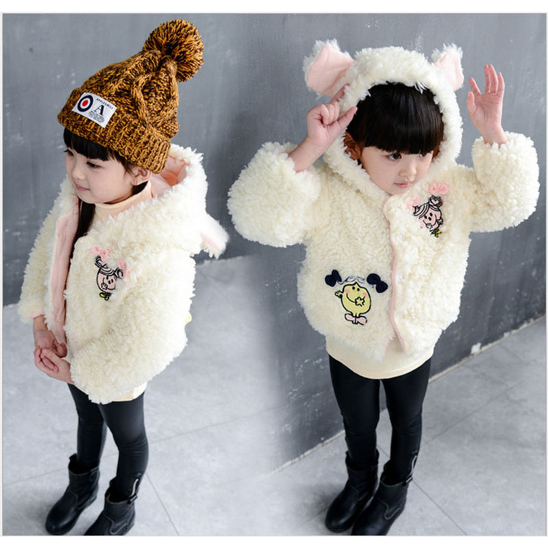 Winter Girl Jackets Faux Fur Cartoon Coats For Kids Thick Outerwear Warm Coat for Girls 3-7Y(China (Mainland))