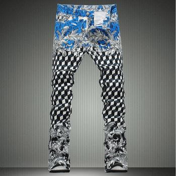 Мужчины в геометрический принт джинсы вилочная часть приталенный прорезиненная тесьма ...