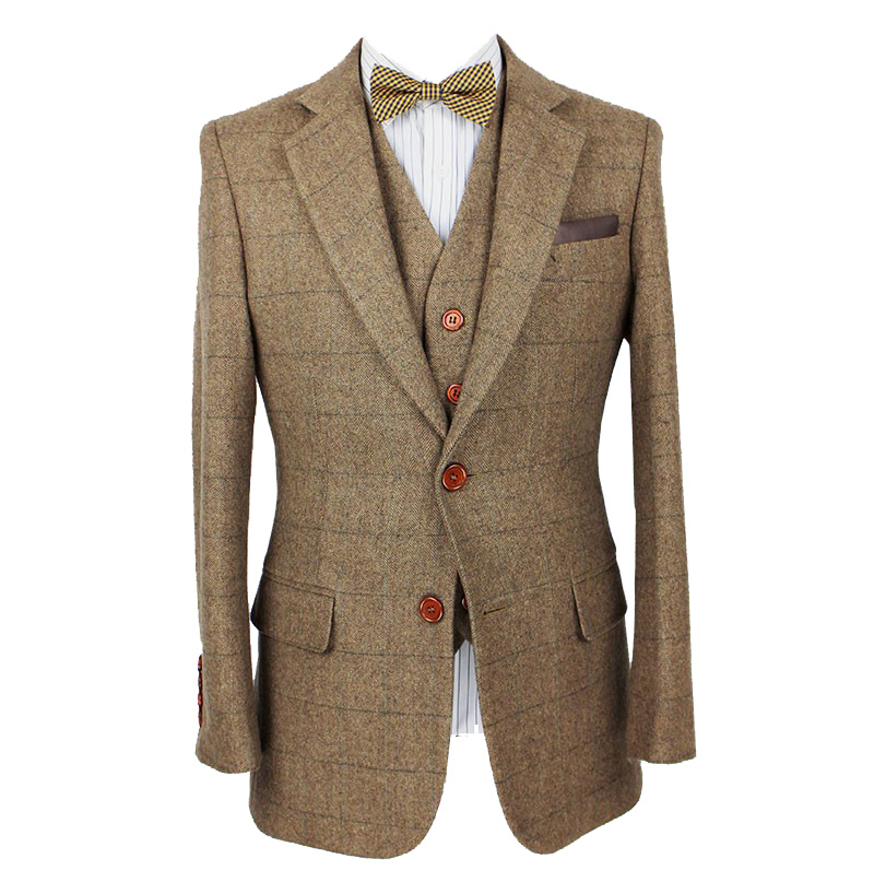 2014 men tailor made suits retro Brown plaid Groom Tuxedos custom made  men slim fit suits Blazers (Jacket+Pants+Vest)