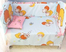 Promotion! 6PCS Baby Crib Cot Cotton Bedding Sets Baby Nursery Kit (bumper+sheet+pillow cover)