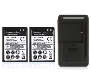New 2x 1500mAh Battery +Charger For Samsung Galaxy Ace,S5830,Galaxy Gio S5660 S5670,Galaxy Pro,B7510,i569,i579