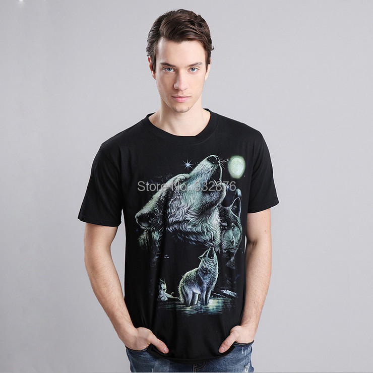 Summer Men Three 3 Wolf Moon 3d Print T shirt Cool O-Neck Short Sleeve Cotton Rock Hip Hop T-Shirts(China (Mainland))