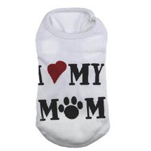 I LOVE MY MOM Dog Vest Cheap Summer Dress Puppy Dog T shirt Stripe Coat Teacup