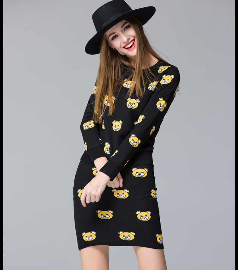 2015 New Autumn Sweater Suit soft cotton womens' skirt suit little bear design - Tara's Shop store