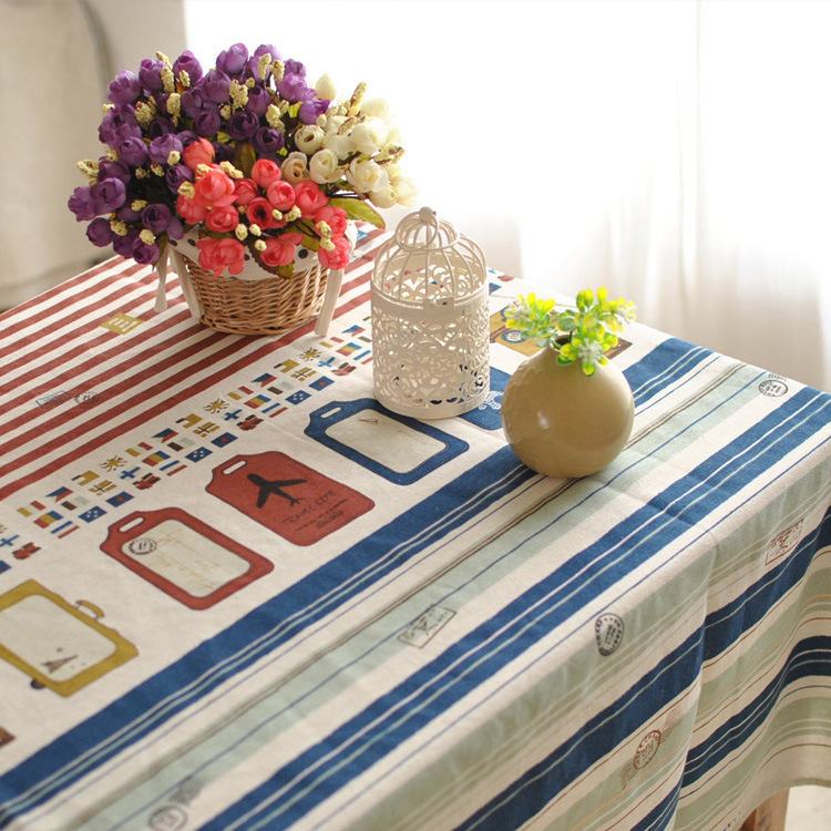 Tower England Red and Blue Stripes Tablecloth Cotton and Linen Table Cloth Dinner Tablecloth Coffee Table Cover Cloth FL1209(China (Mainland))