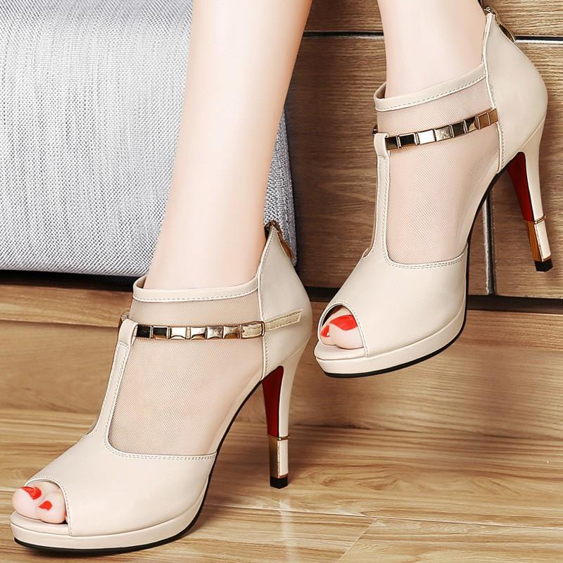 ซื้อ รองเท้าผู้หญิง2016ฤดูใบไม้ผลิ/ฤดูร้อนแฟชั่นผู้หญิงปั๊มแพลตฟอร์มP Eep Toeผู้หญิงรองเท้าส้นสูงหนังแท้ผู้หญิงรองเท้า1036-46