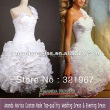 Amanda Novias Real Photos One shoulder style unique ruffles sexy short wedding dresses REAL-270(China (Mainland))