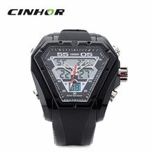 Ohsen AD1208 hexagonal en forma PU banda analógico + Digital reloj de pulsera para hombre – negro ( 1 x CR2025 )