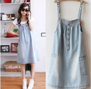 Free shipping summer new large size women fat mm Korean Dress casual loose denim jeans dress strap dress HS012 S M L XL XXL(China (Mainland))
