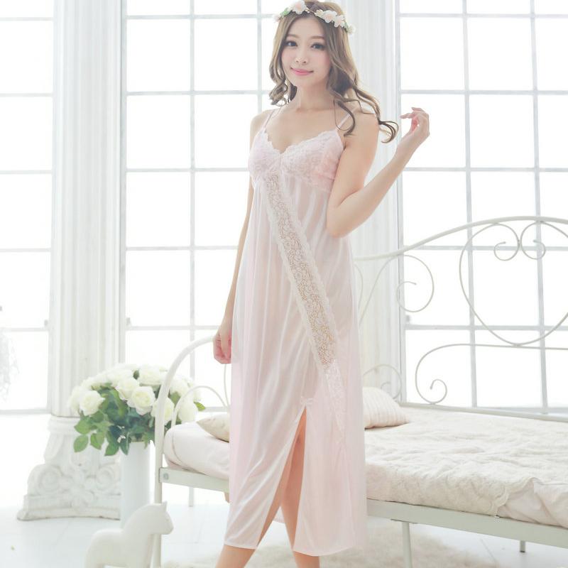 Free shipping women sexy temptation nightdress girls long plus size Large Sleepwear 2016 spring summer nightgown pink black Y431(China (Mainland))