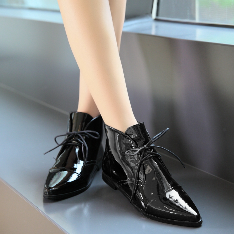 ladys black flat heel all genuine leather casual shoes woman 2015 winter autumn women shoes ankle lace up boots womens shoes<br><br>Aliexpress