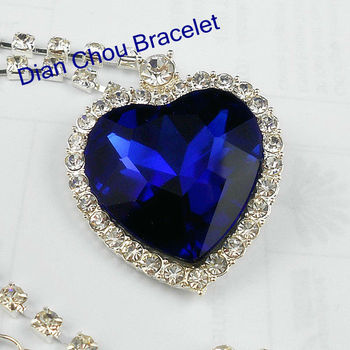 Freeshipping wholesale 20pc a lot sliver plated royal blue Heart of Ocean Titanic Crystal women Necklaces & Pendants 1:1 BB60