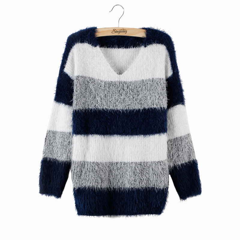 Plus Size 2016 Spring Women Fashion Striped Pullover Crochet Sweater Casual Tops Warm Knitted Jumper Handsome Maternity Sweaters(China (Mainland))