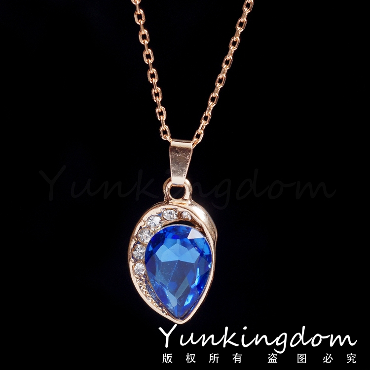Free shipping 46+5 cm Chain 18K Gold Filled Blue Water Drop fashion women Long necklaces pendants in jewelry PM0267(China (Mainland))