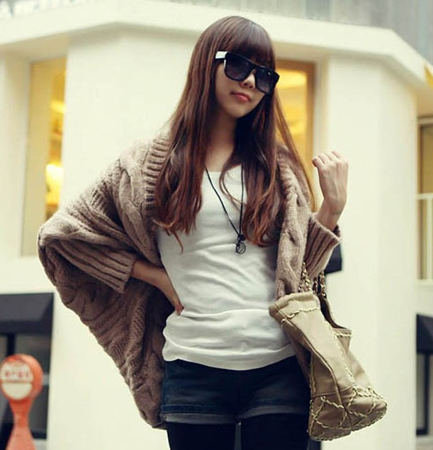 2013 New Women Fashion O Neck Long Batwing Sleeve Solid Ruffles Casual Male Models Picture
