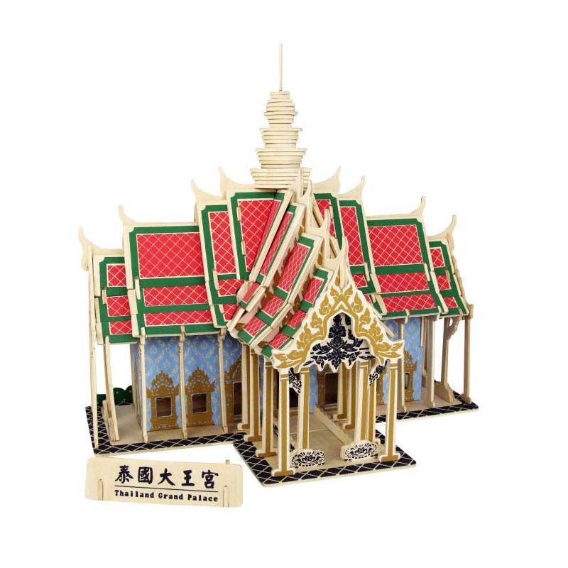 3d Wooden Puzzle Thailand Grand Palace Children's Adult Educational Toys The Best Gift Of Quality Materials(China (Mainland))