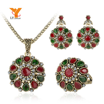 Crystal Flower Necklace Sets Fashion Earing For Women 2014 Strawberry Jewelry Turkish 3Pc Combination Nigerian Red Bead Necklace