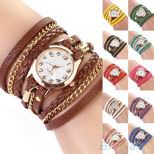 Colorful Vintage women watches Weave Rivet Leather Bracelet wristwatches 06SE - YooHERE Store store