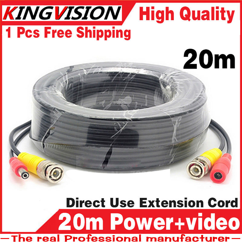 SALE! 20M 3.2FT Video Power Cables Security Camera Wires for CCTV DVR Home Surveillance System with BNC DC Connectors Extension(China (Mainland))