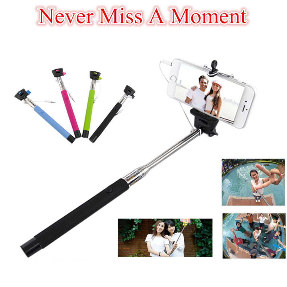2 in 1 wired cable extendable monopod selfie stick for iphone 5s 6 6 plus samsung jack. Black Bedroom Furniture Sets. Home Design Ideas