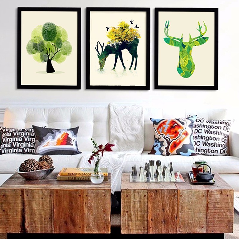 Modern Canvas Art Print Poster Canvas Oil Painting by Numbers Butterfly Deer Tree Wall Pictures for Living Room No Frames
