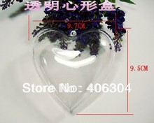 Free shipping,9.5cm transparent clear hanging heart candy box ,clear plastic christmas ornaments, DIY item(China (Mainland))