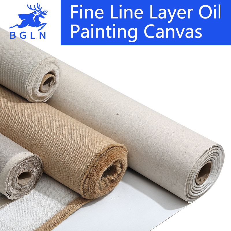 BGLN Linen Blend Primed Blank Canvas For Painting High Quality Layer Oil Painting Canvas 1m One Roll ,28/38/48/58 Width(China (Mainland))