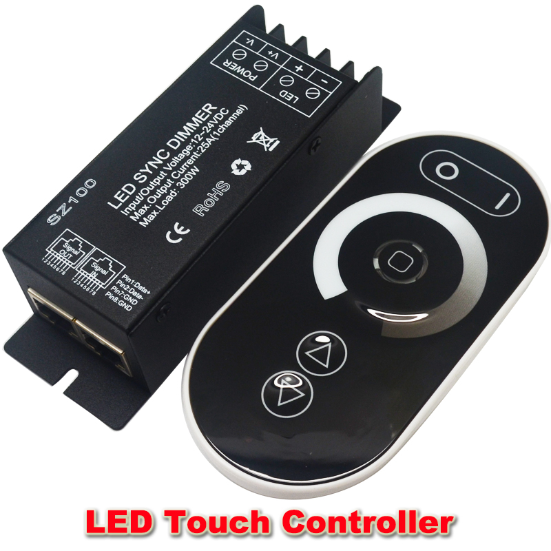 DC12V 24V Led Touch controller 1 Channel RF Wireless 25a 300w Led Dimmable Dimmer Remote Controller To Control Led Strip(China (Mainland))