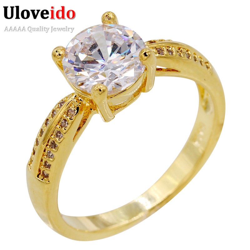 2016 uloveido gold plated rhinstones wedding ring