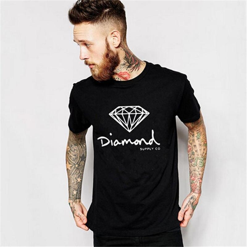 New Summer Mens T-shirt Diamond Supply Co Printed Casual Man Cool T Shirt Hip Hop Cotton Tees Camisetas Homme AMD217(China (Mainland))