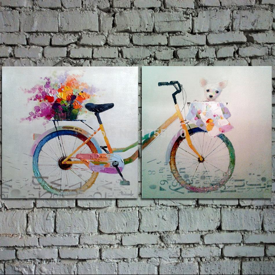 Free Shippig 100% Handpaintedlotus spring outing bike cat flowers colorful Oil Painting On Canvas Wall Art Pictures Home Decora(China (Mainland))